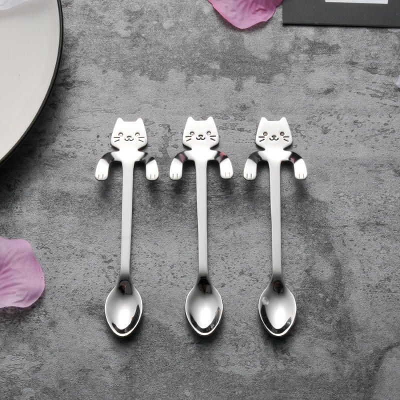 MIUK 304 Stainless Steel Coffee Spoon Creative Kitty Hook Dirtproof Coffee Tea Spoon Scoop