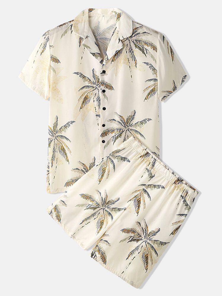 Mens Tropical Coconut Tree Print Revere Collar Short Sleeve Cozy Faux Silk Home Pajama Set