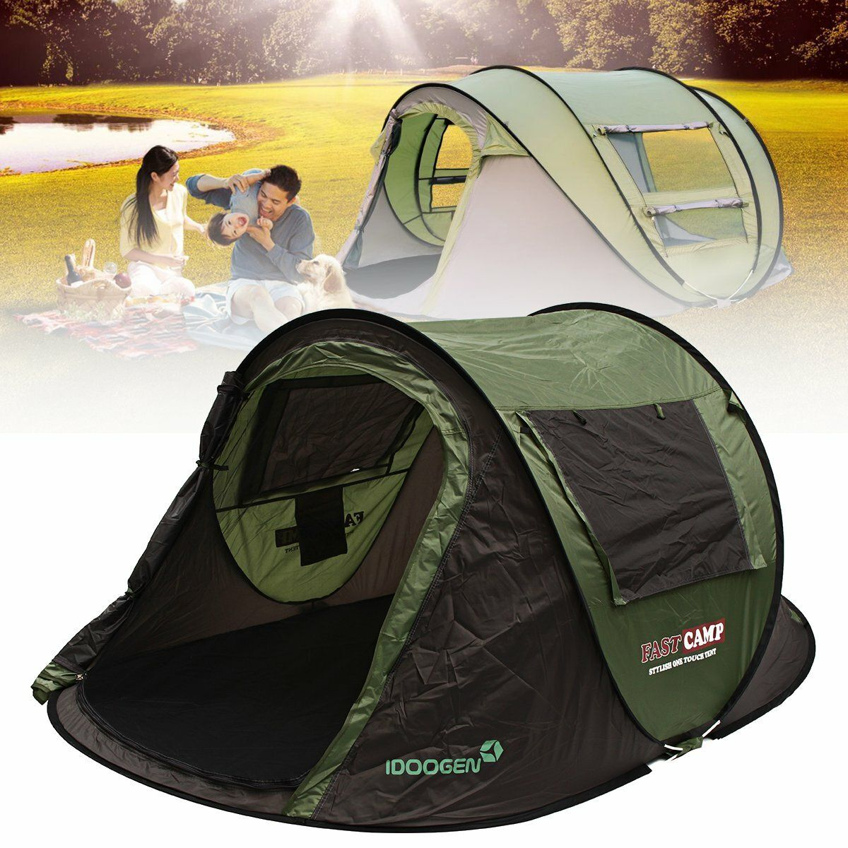 Outdoor 5 8 People Automatic Instant Popup Tent Waterproof Sunshade Canopy Rain Shelter Camping