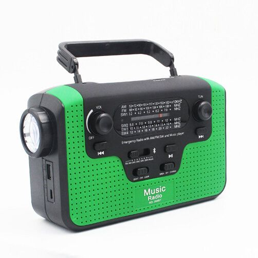 TAD US$49.39 6 In 1 Manual Crank Generator Solar Energy Generation Emergency Charger Light Proble Radio Bluetooth Speaker with TF Card Slot