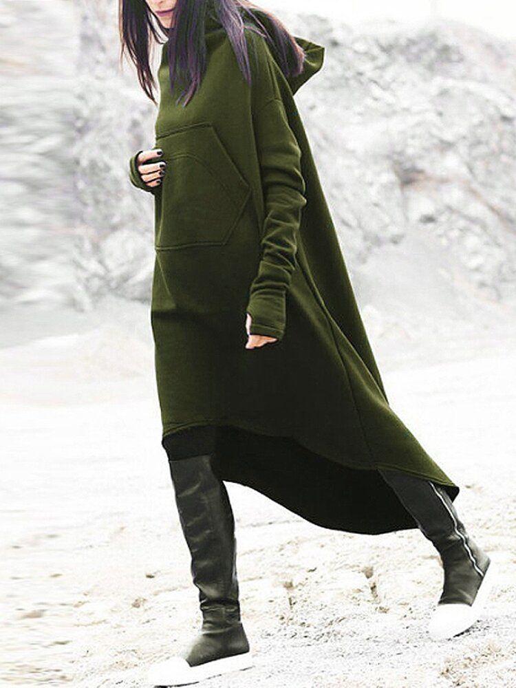 Casual Women Hooded High Low Sweatshirt Dress