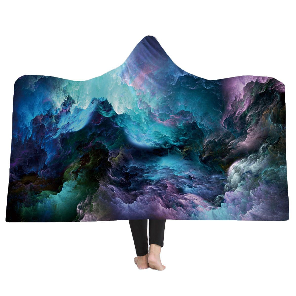SCY US$34.32 150x200CM 3D Colorful Printed Hooded Blankets Warm Wearable Plush Mats Thick Nap
