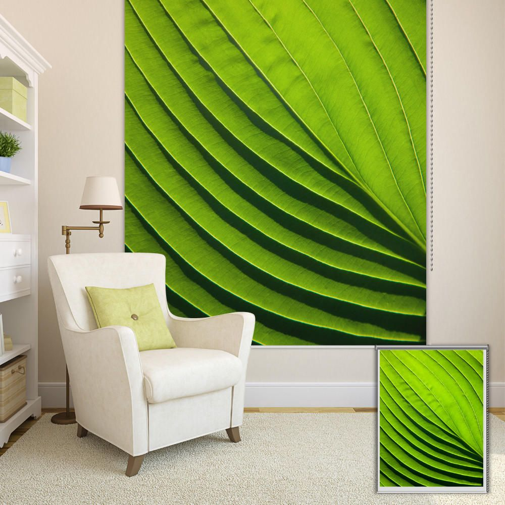 PAG Green Leaf Wall Decor Window Curtain Roller Shutters Print Painting Roller Blind Background