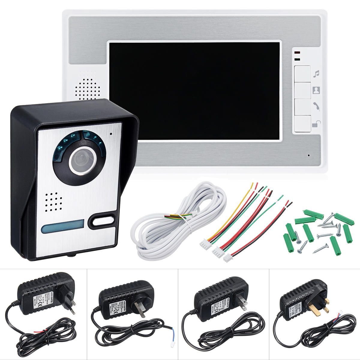 Wired 7 inch Color Video Door Phone Doorbell Intercom Security System with 1 Monitor