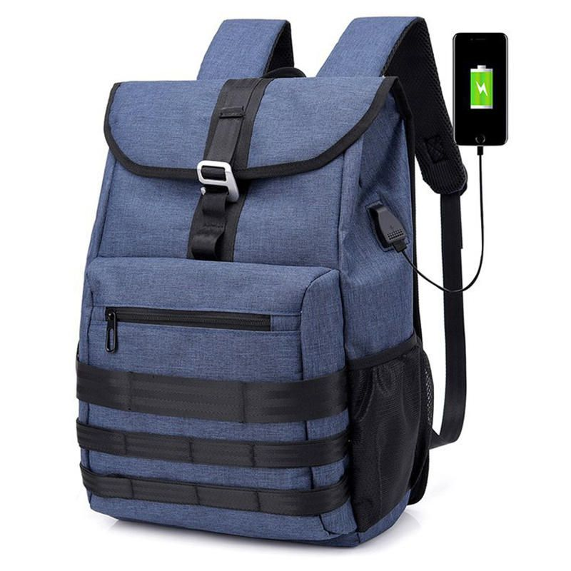 Oxford Large Capacity Backpack USB Multi function Bag