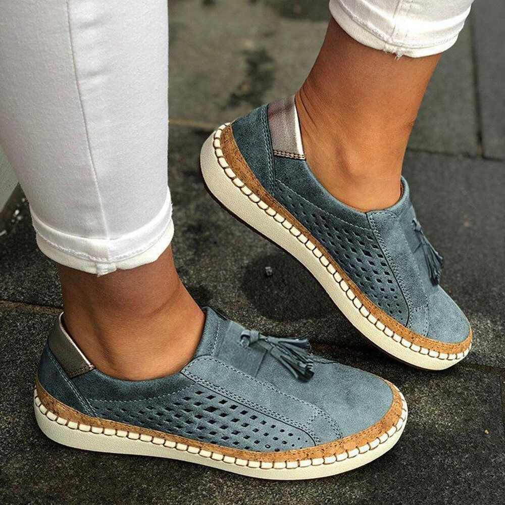 Women Casual Hollow Out Fringe Loafers