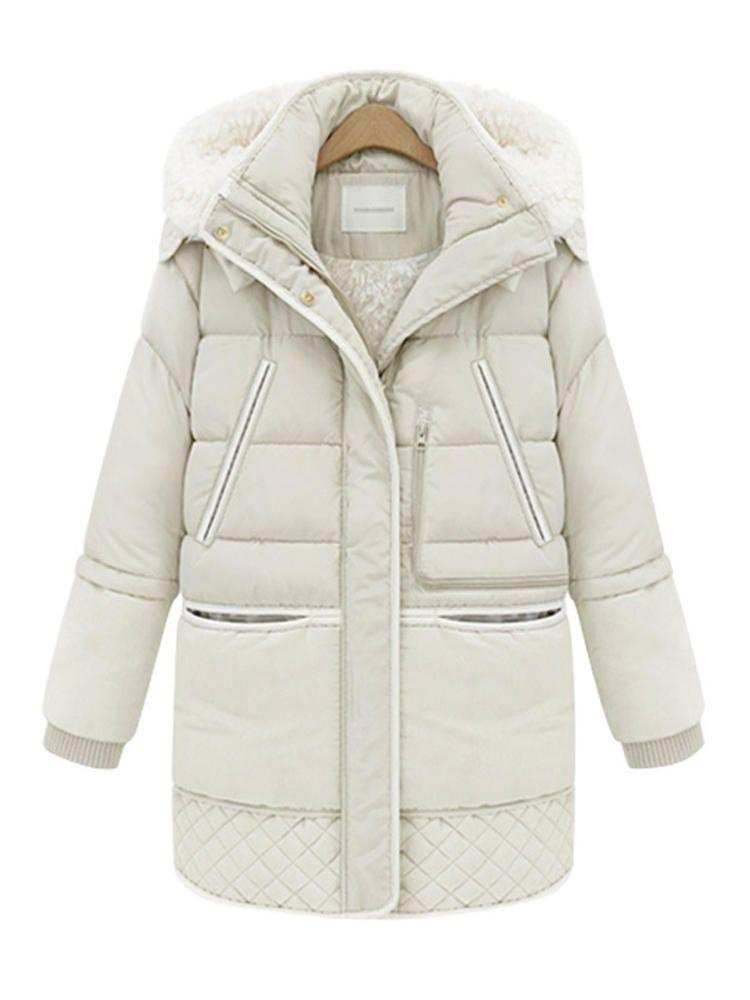 Fur Collar Zipper Winter Warm Long Sleeve Women Coats