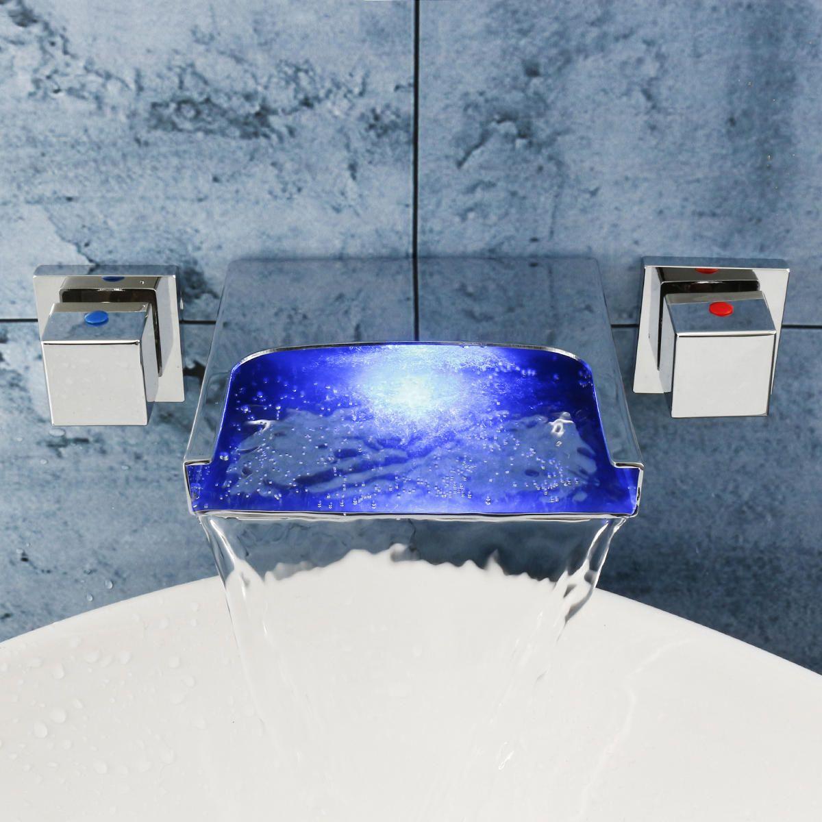 LED Waterfall Bathroom Basin Faucet Mixer Taps Wall Mounted Handheld Tub Filler Shower Dual Handles
