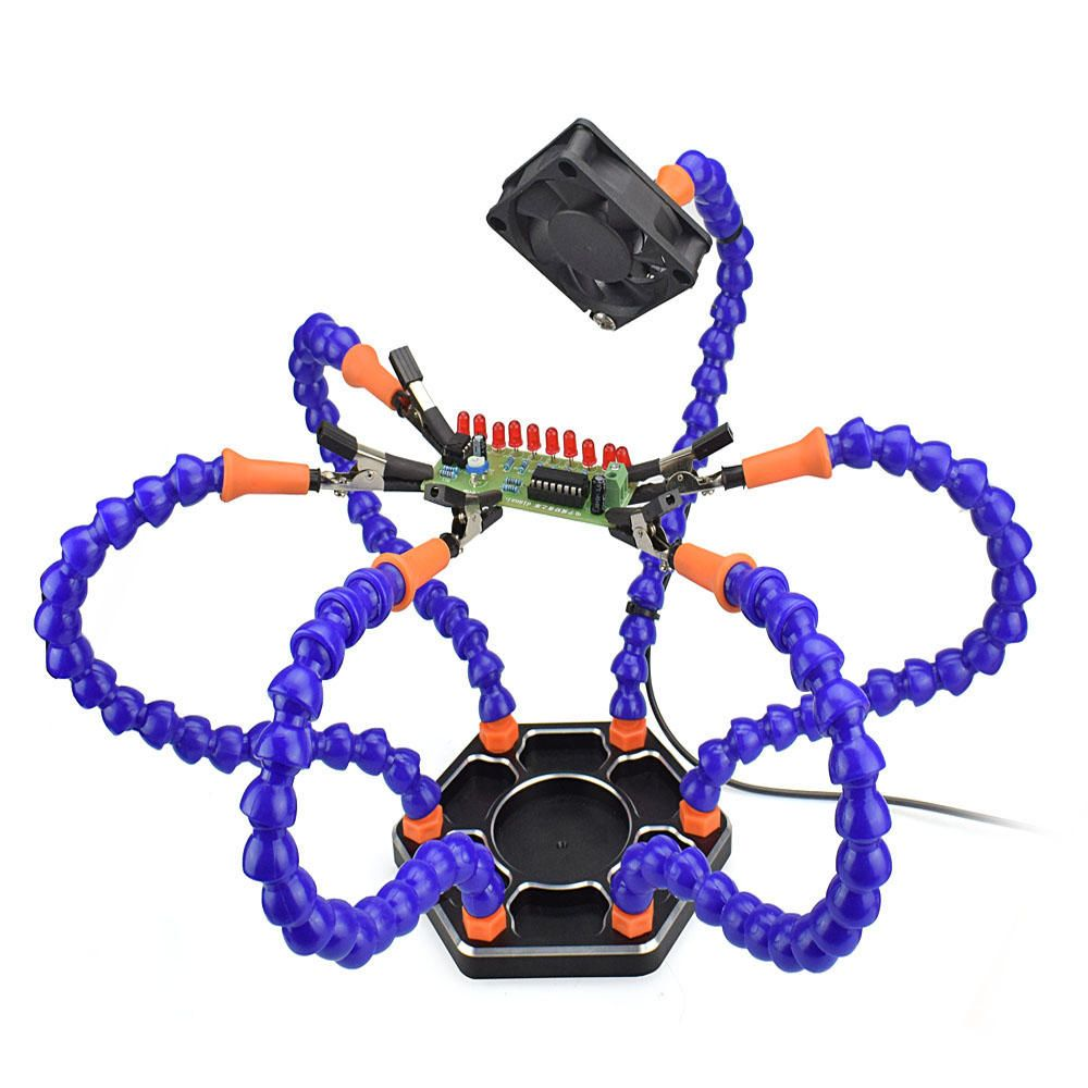 DIY Flexible Third Hand Six Arm PCB Maintenance Fixture FPV RC602 Soldering Station Tool with USB Fans