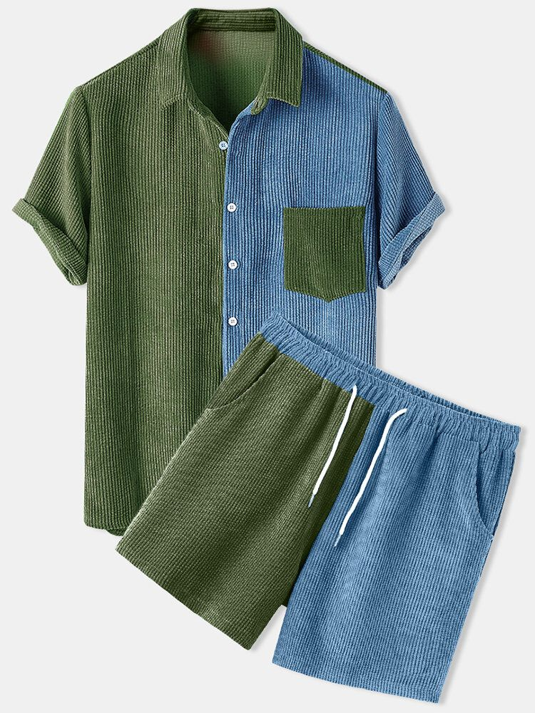 Banggood Designed Mens Corduroy Patchwork Loose Pocket Elastic Waist Breathable Shirt & Shorts