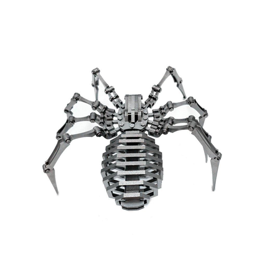 Steel Warcraft 3D Puzzle 64pcs DIY Assembly Spider Toys DIY Stainless Steel Model Building Decor 12.5*12.5*3.5cm