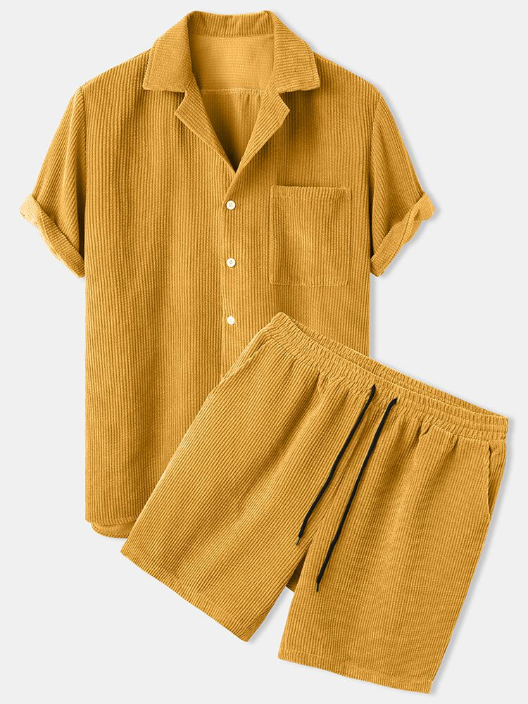 Mens Thin Corduroy Solid Patch Pocket Breathable Short Sleeve Shirt & Shorts
