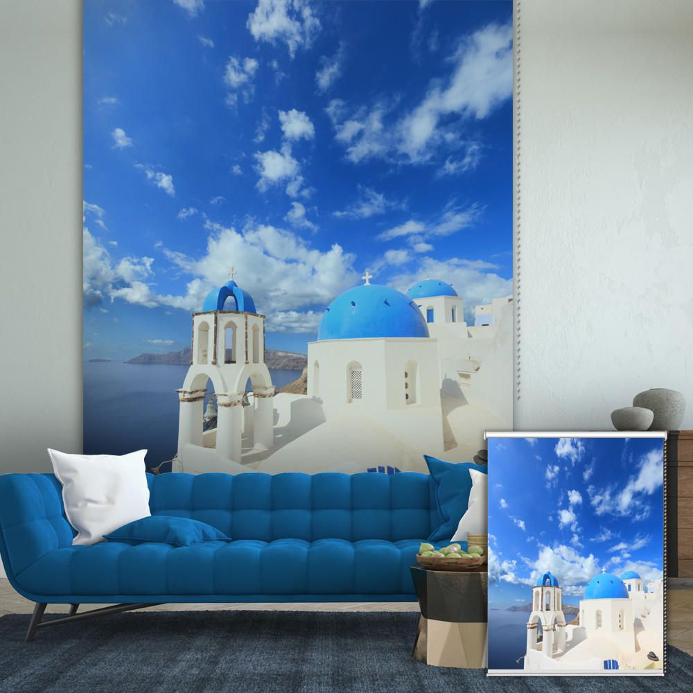 PAG Mediterranean Roller Shutters Print Painting Roller Blind Background Wall Decor Window Curtain