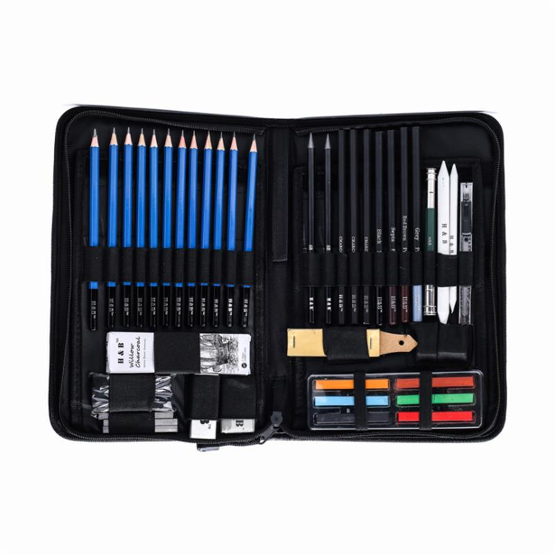 H&B HB TZ65 48Pcs Sketching Pencils Set Art Supplies Sketch Tool Set Painting Pencil Professional Drawing Sketching Art Kit with Carrying Bag