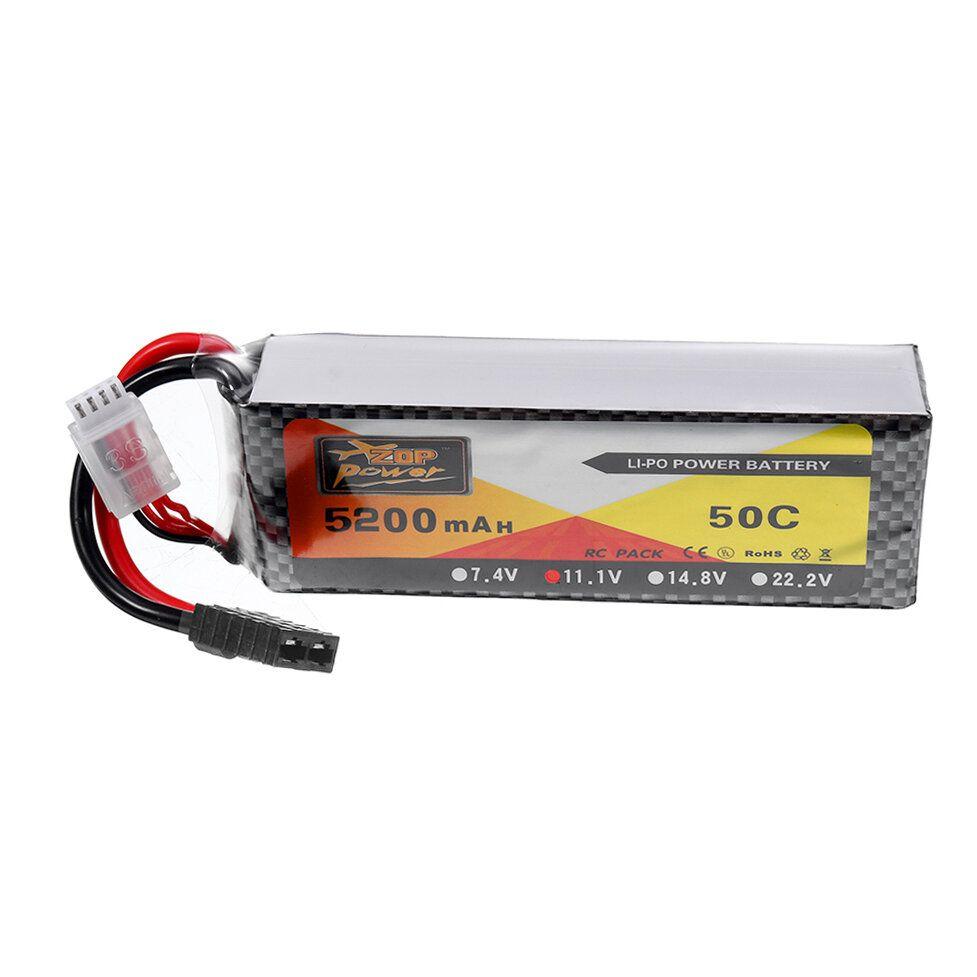 ZOP Power 11.1V 5200mah 50C 3S Lipo Battery TRX Plug for Wltoys 1/8 RC Car