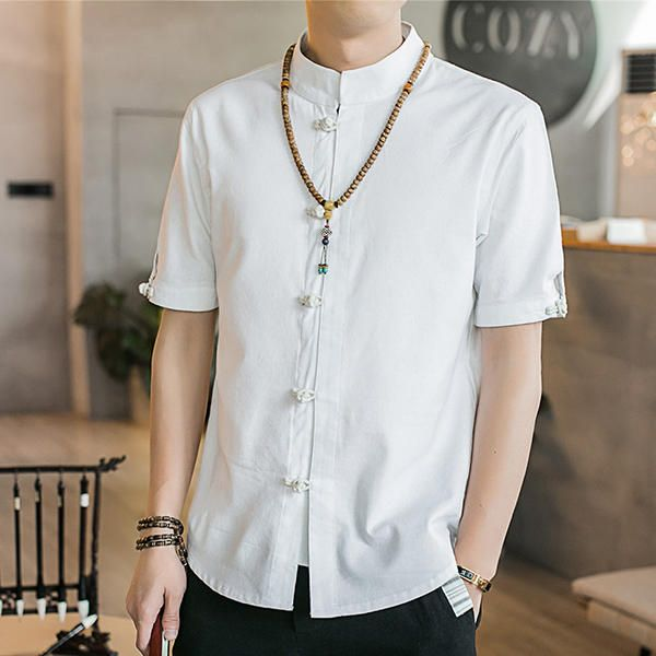 UTM US$34.99 Mens Summer Chinese Style Solid Color Stand Collar Cotton Linen Vintage Shirts