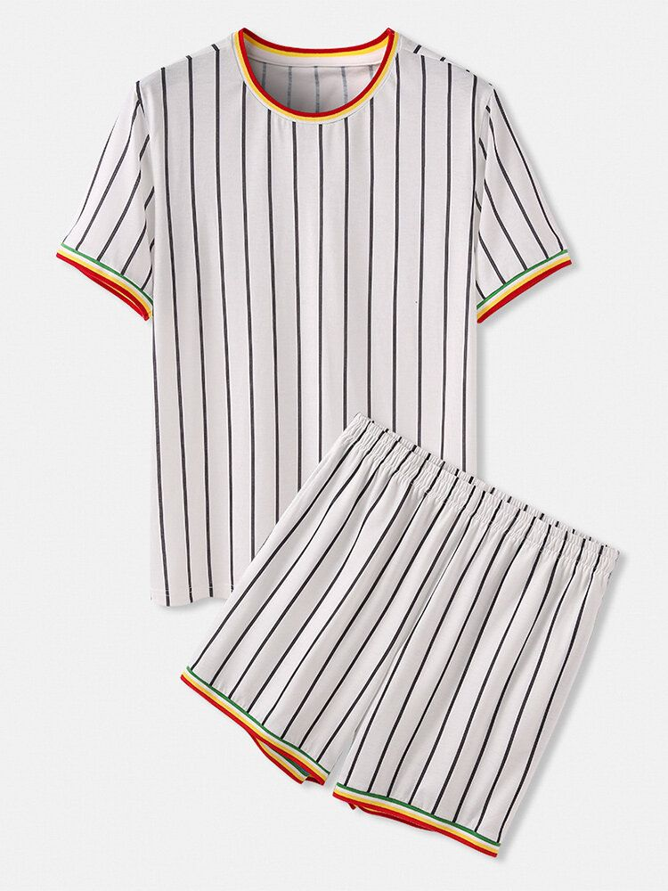 Mens Vertical Stripes Short Sleeve Elastic Waist Home Casual Two Piece Pajama Set