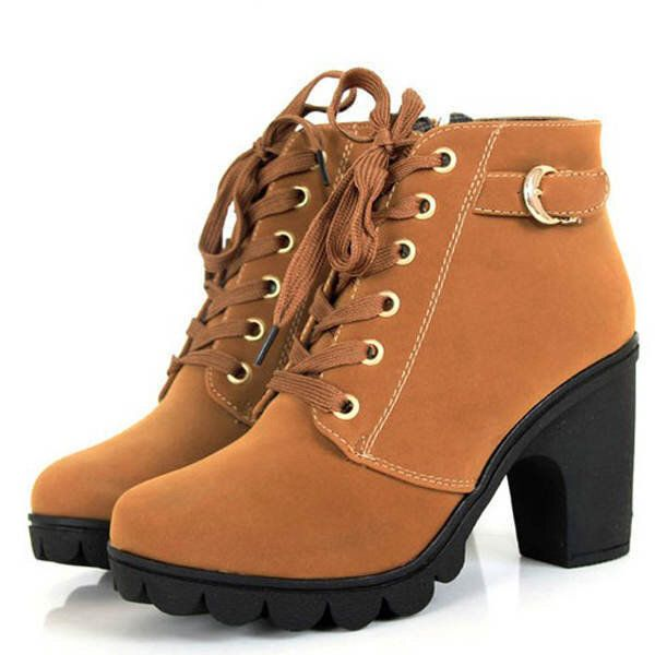 Round Toe Thick High Heel Lace up Side Zipper Women Boots
