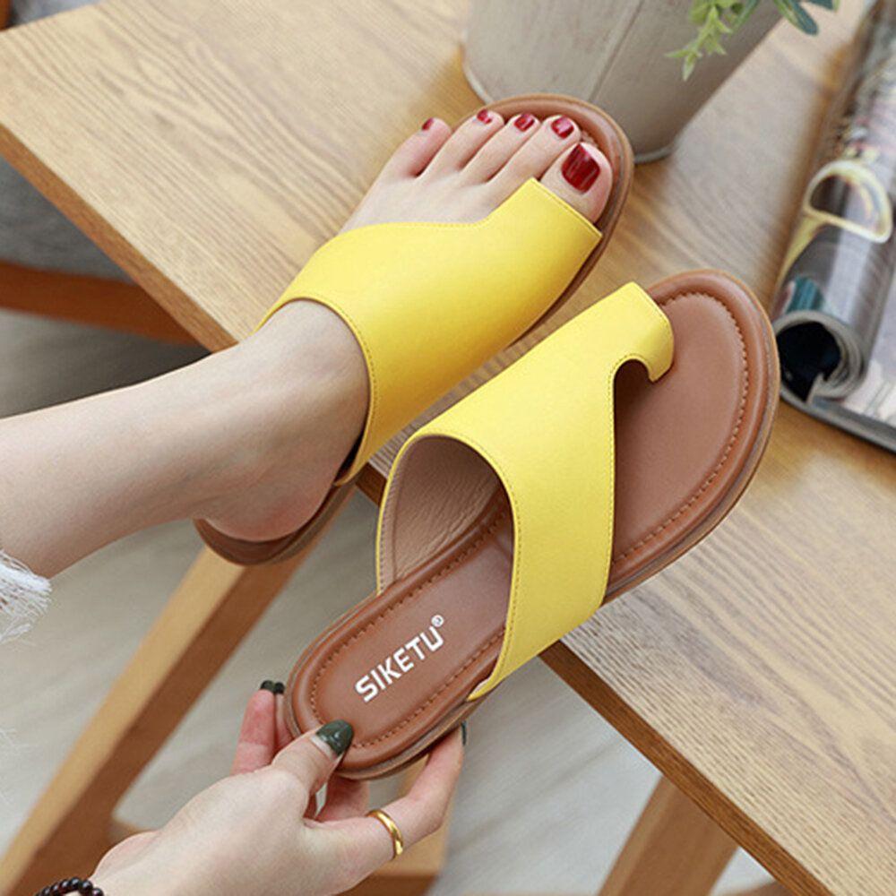 Women Clip Toe Pure Color Casual Summer Flat Sandals