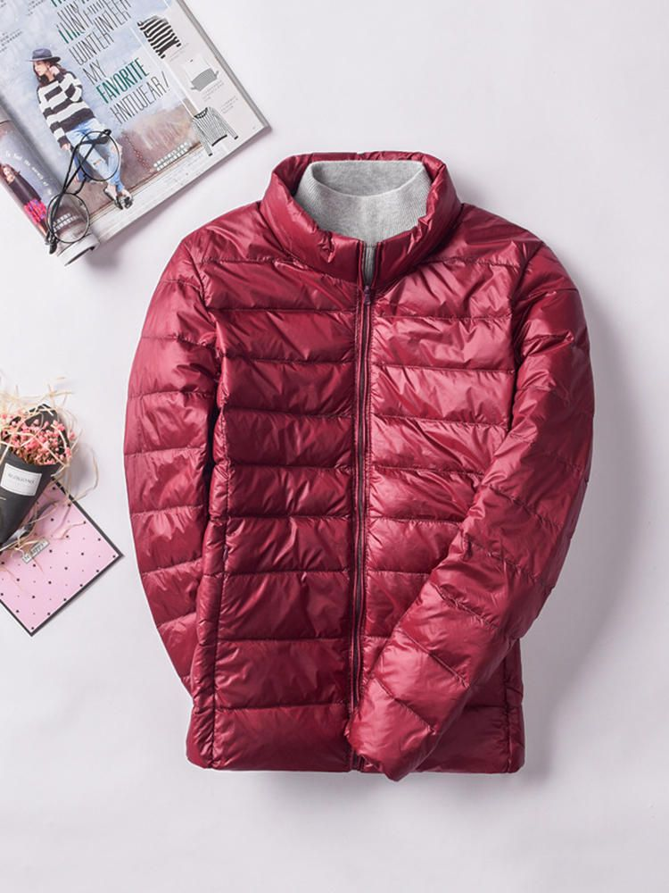 Casual Women Pure Color Long Sleeve Down Jackets