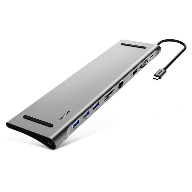Vention CMCHB 10 in 1 Type C to USB 3.0 PD Charge HDMI VGA Gigabit RJ45 3.5mm Audio SD TF Hub