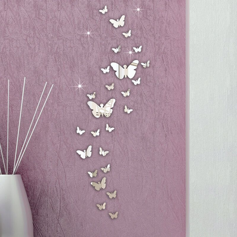 IJT US$3.76 Honana DX-Y5 30PCS Butterfly Combination 3D Mirror Wall Stickers Home Decor DIY Room Decoration