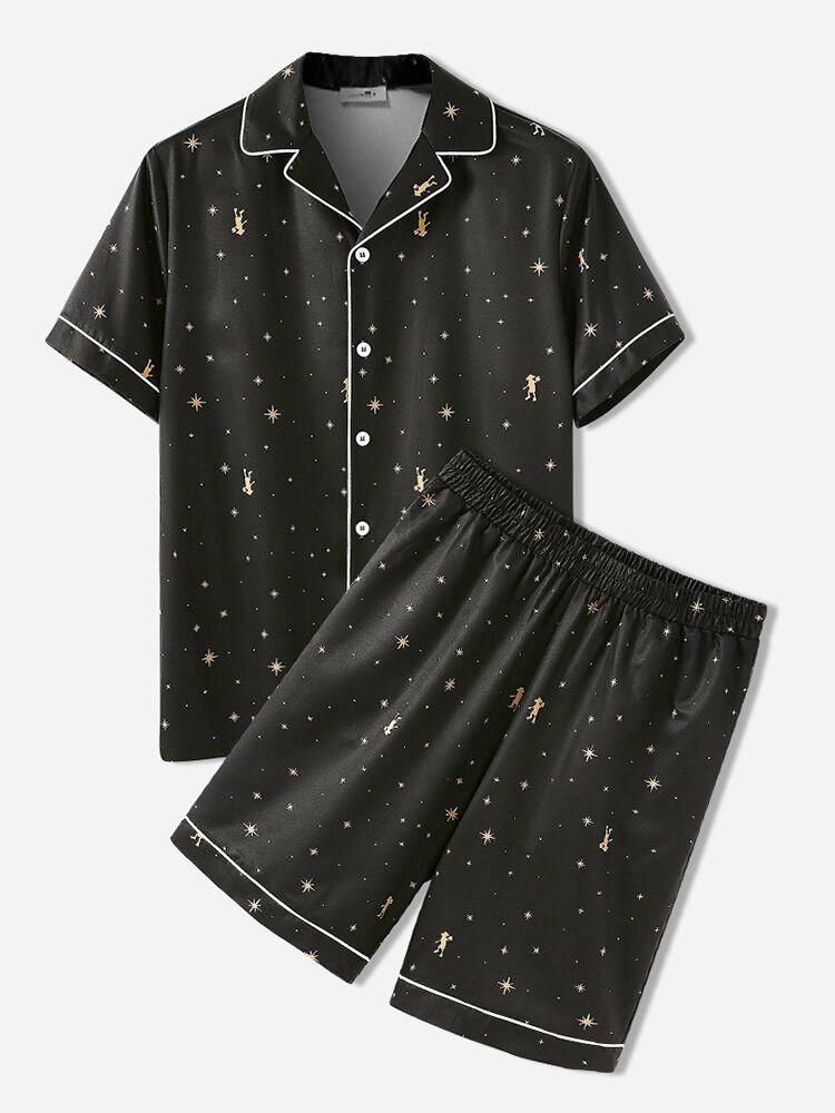 Mens Star Pattern Cozy Revere Collar Black Home Casual Pajama Set