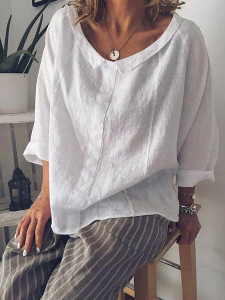 S 5XL Women Solid Color Cotton Lapel 3/4 Sleeve Blouse