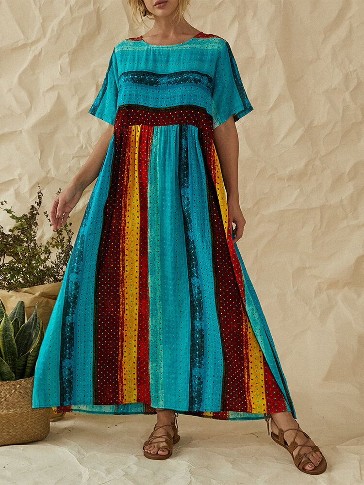 Plus Size Bohemian Striped Patchwork Print Short Sleeve Holiday Maxi Dress