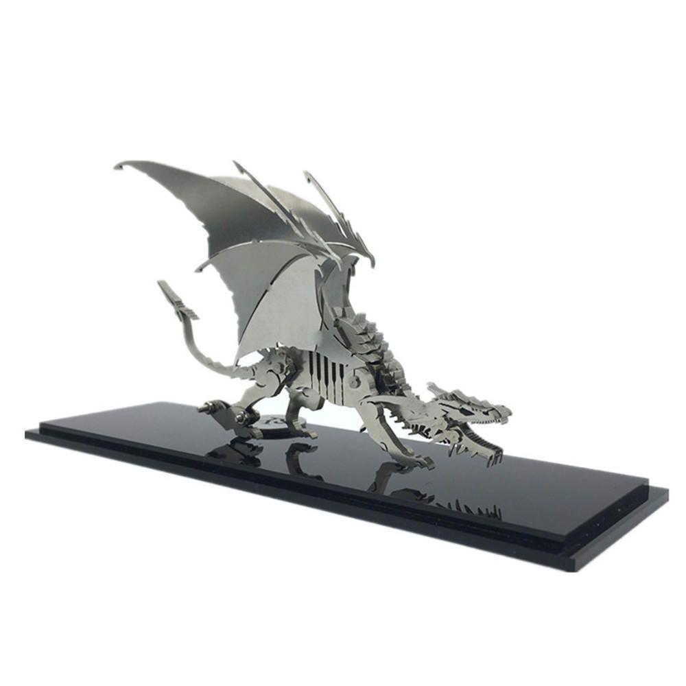 Steel Warcraft 3D Puzzle DIY Assembly Dinosaur Toys DIY Stainless Steel Model Building Decor 13*4.5*11.7cm