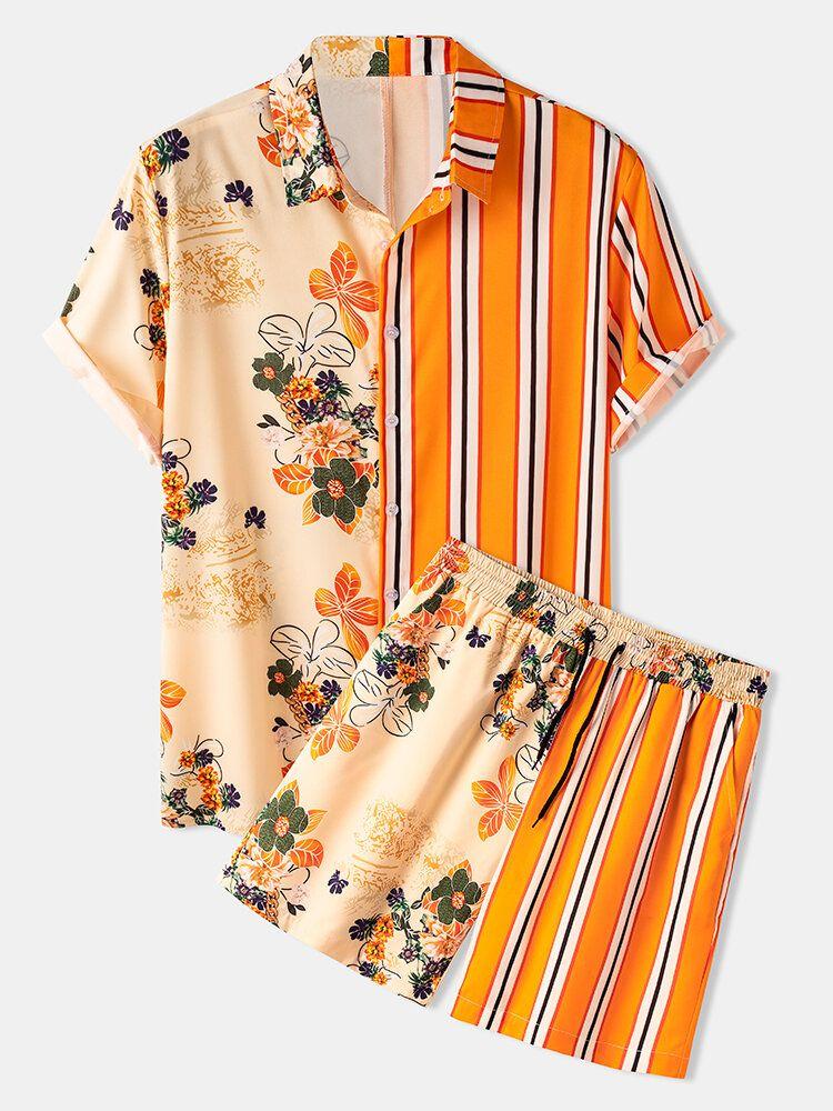 Banggood Design Mens Floral Print Patchwork Stripe Top Drawstring Casual Sets