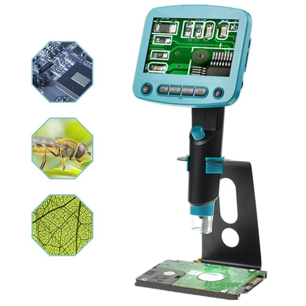 DANIU DM01 4.3 Inch LCD Screen HD 5.0MP 800X Portable USB Digital LCD Microscope Adjustable High Brightness 8 LEDs VGA Camera Video Microscopes Soldering Magnifier + Metal Stand