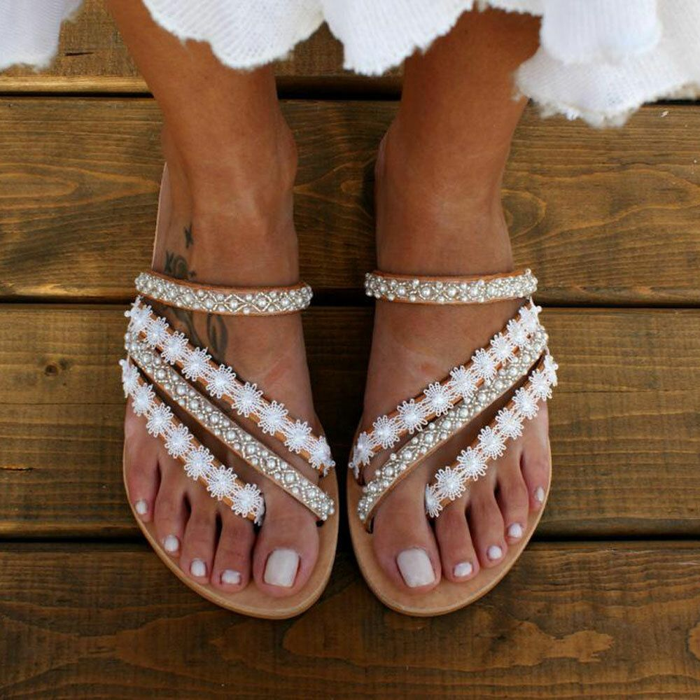 Women Bohemia Beading Slip On Casual Beach Summer Flat Sandals