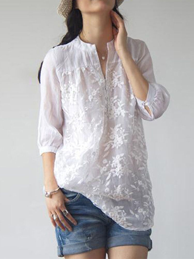 Women Floral Embroidery V neck 3/4 Sleeve Blouse