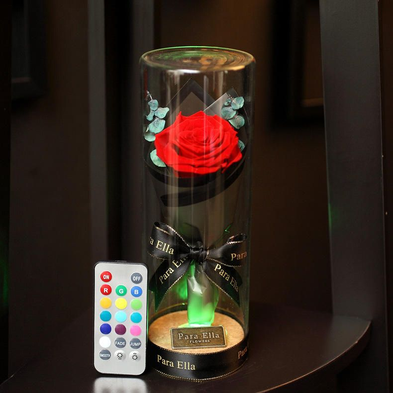 YXV US$36.34 Para Ella Preserved Fresh Rose Flower with Fallen Petals in Glass Dome on a Wooden Base with Remote Control Light for Best Gift