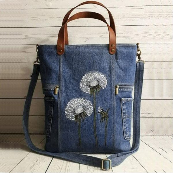 Women Flower Print Canvas Handbag Shoulder Bag Handbag
