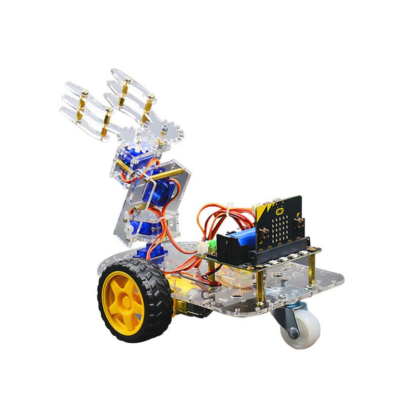 VJR US$57.55 Micro:bit Smart Robot Arm Car Kit Support Graphical Programming STEM with Micro:bit board + Robot:bit Expansion Board