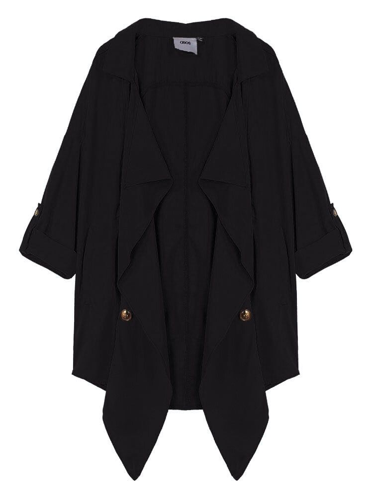Loose Women Lapel Button Pocket Irregular Thin Trench Coat Jacket