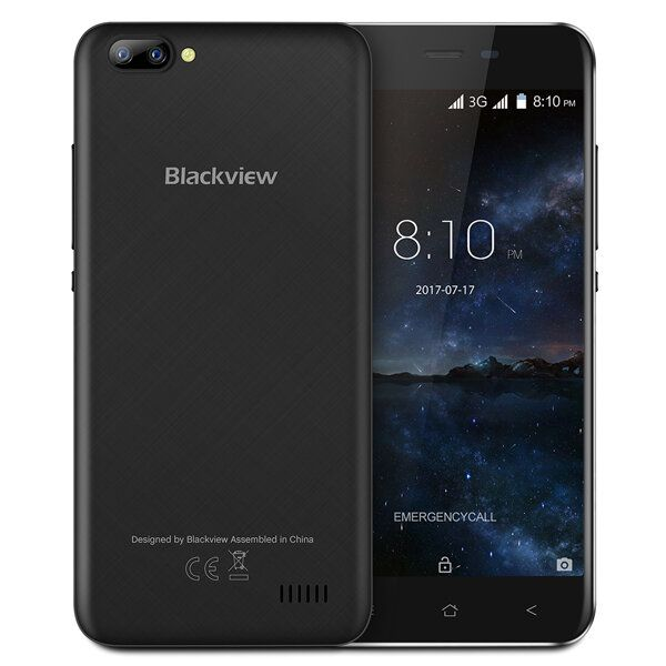 Blackview A7 5.0 Inch Android 7.0 1GB RAM 8GB ROM MT6580A Quad Core 1.3GHz 3G Smartphone