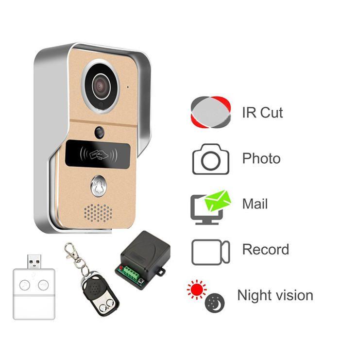 KONX 720P Smart Home WiFi Video Door Phone Intercom Doorbell with RFTD Card Peephole Camera