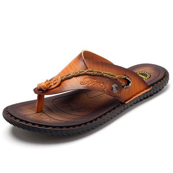 Men Leather Sandlas Flip Flops
