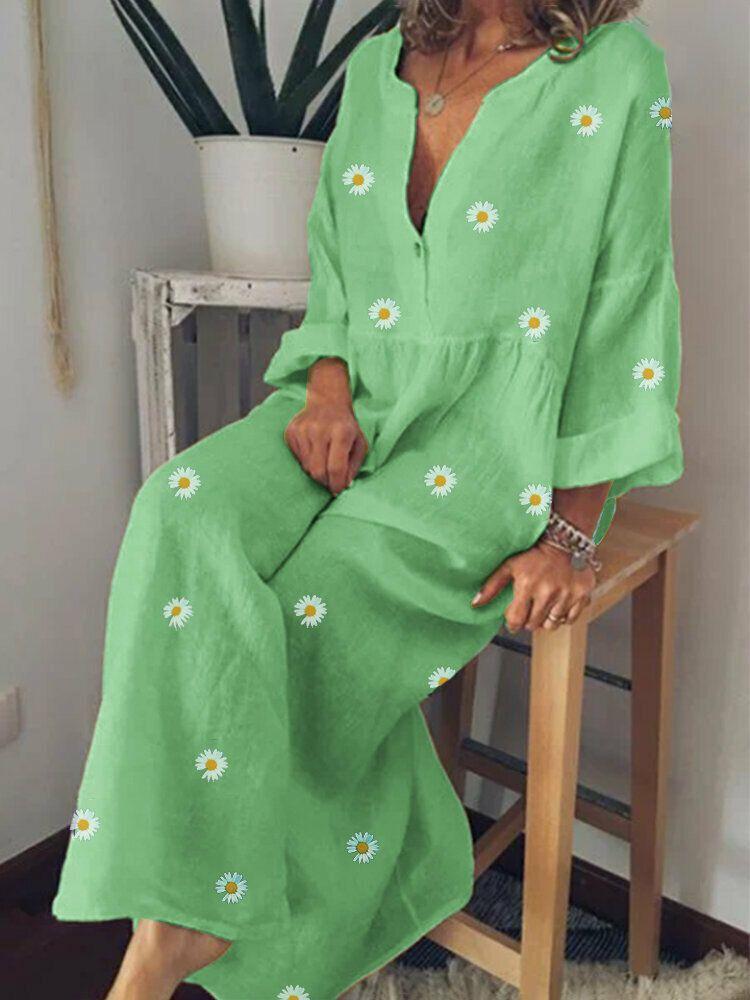 Daisy Print V neck Long Sleeve Loose Causal Maxi Dress For Women
