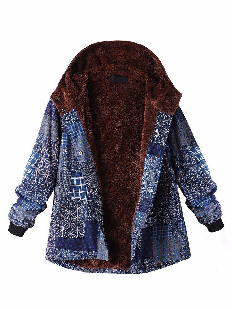 L 5XL Print Hooded Thicken Warm Coat