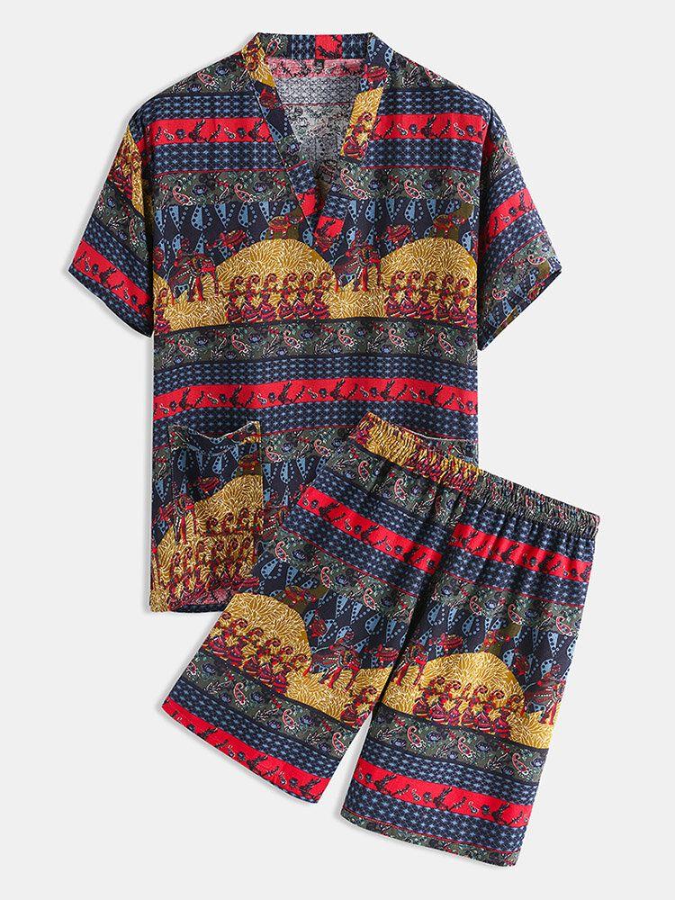 Couple Tribe Ethnic Pattern Print V Neck Pajamas Set Khan Steamed Sauna Hotel Bath Clothes