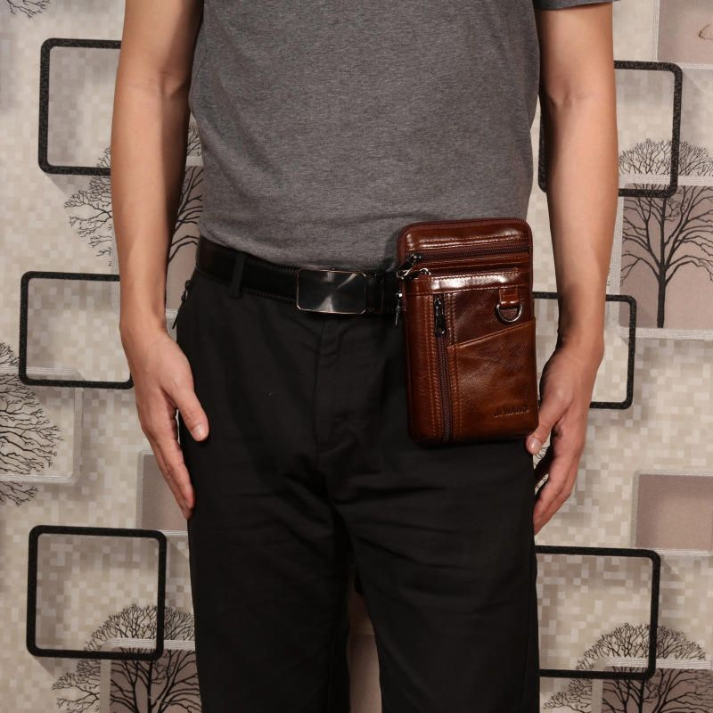 Cowhide Multi function Waist Bag Vintage Crossbody Bag