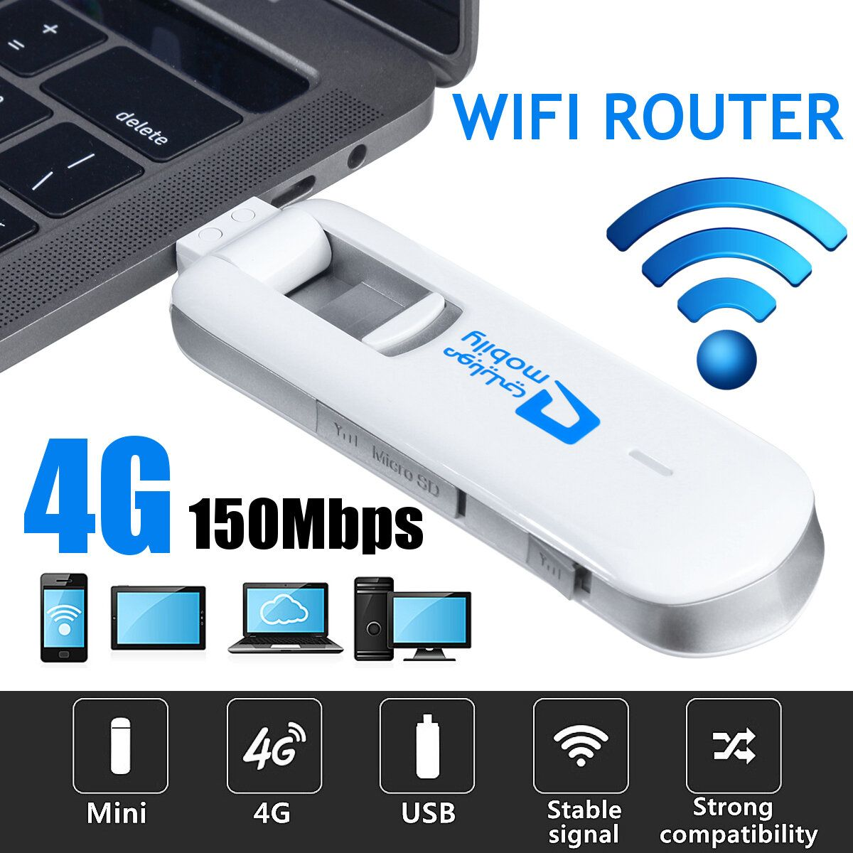 USB 4G LTE Dongle WiFi Router 150Mbps Mobile Broadband Modem B1/B3 PLUG & PLAY