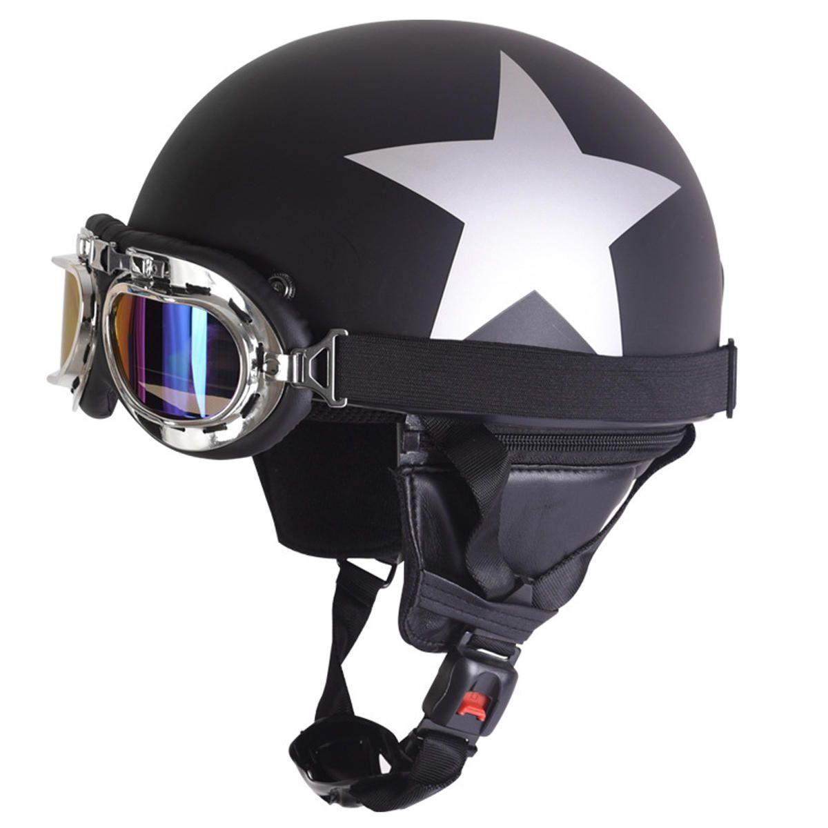 Retro Vintage Motorcycle Helmet Safety Half Helmet with Sun Visor UV Goggles
