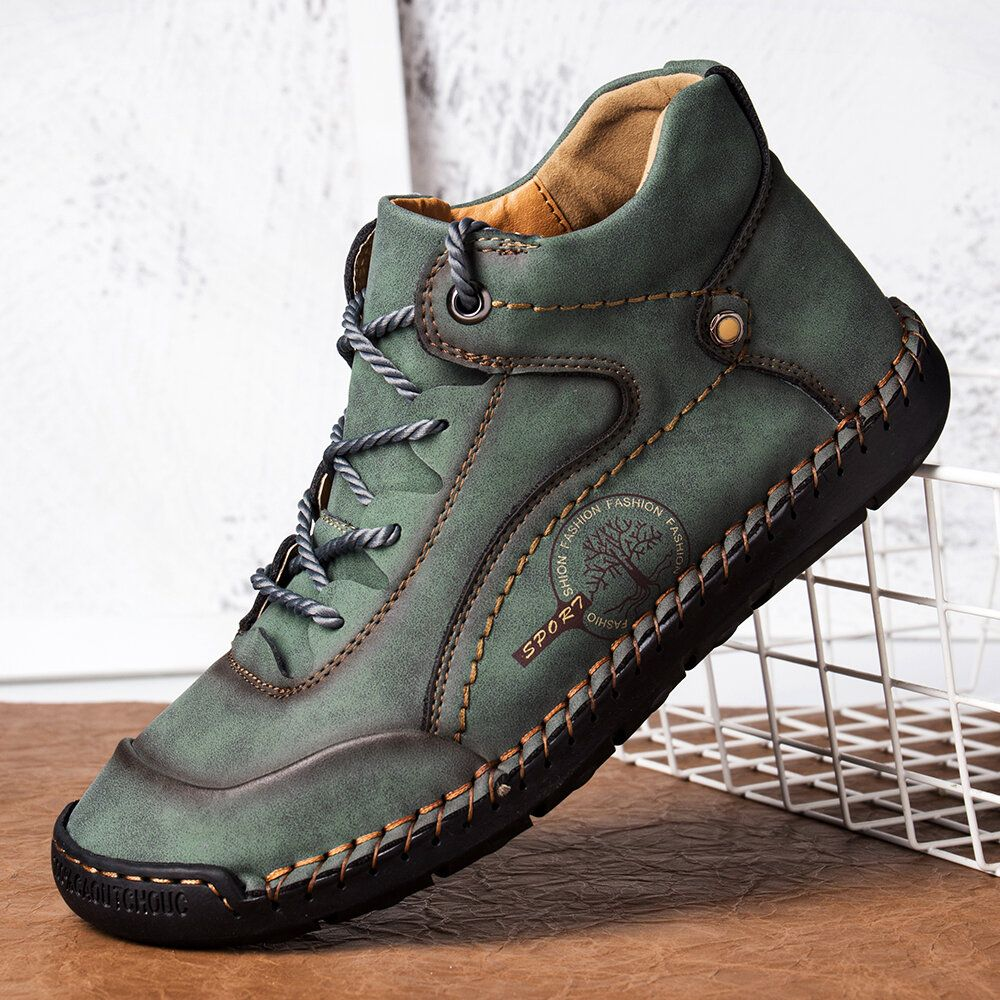 Men Microfiber Leather Hand Stitching Comfy Non Slip Soft Casual Boots