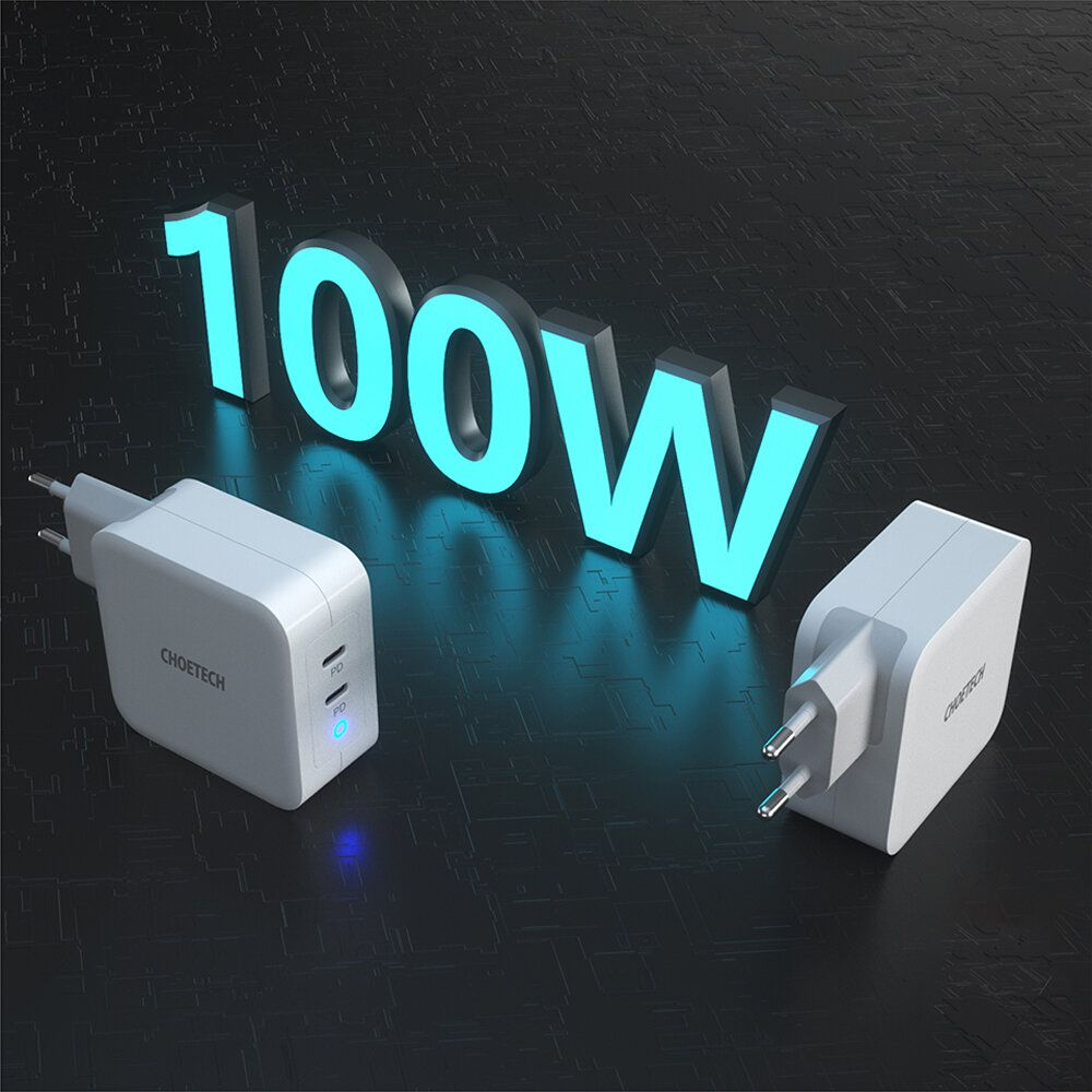 [GaN Tech] CHOETECH 100W Dual USB C Chargers PD3.0 Power Delivery Fast Charging Wall Charger Adapter With Foldable Plug For Smart Phone Tablet Laptop For iPhone 11 SE 2020 For iPad Pro 2020 MacBook Pro 2020 For Samsung Huawei Xiaomi