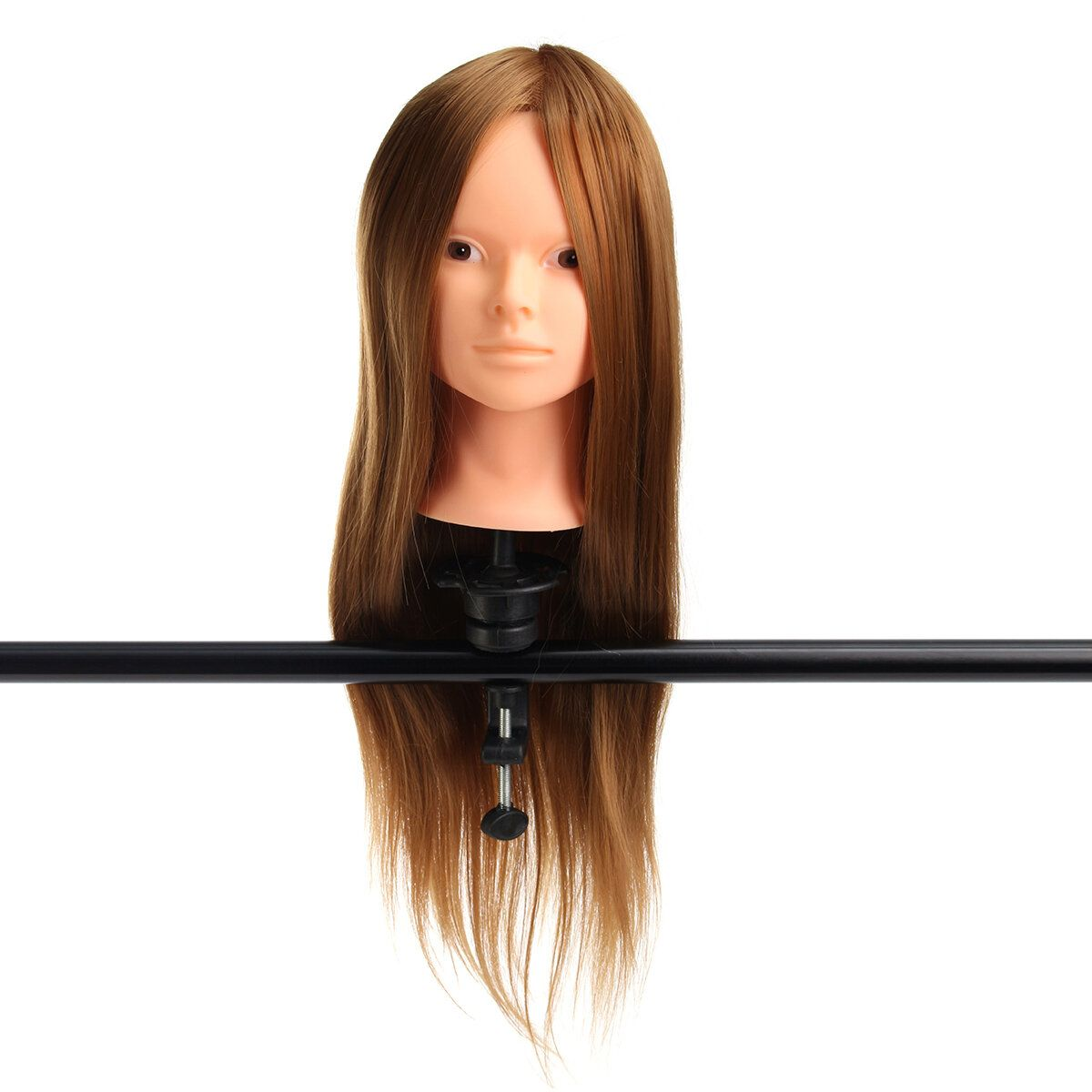 24 Gold 30% Real Hair Hairdressing Makeup Practice Hair Training Mannequin Head Model Clamp Holder